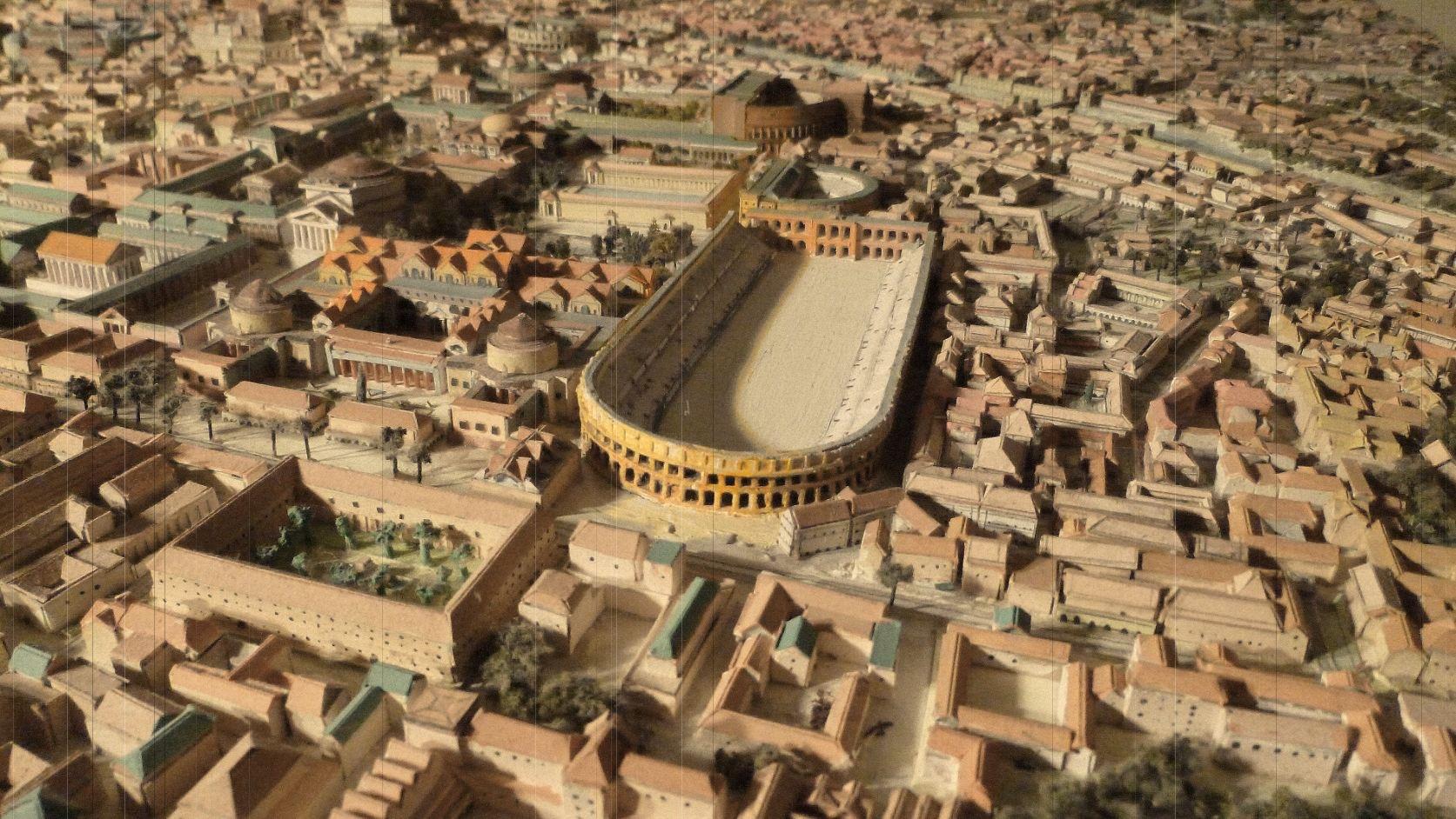 Maquette du stade Domitien, lieu de la place Navone à Rome.  Source : maquettes-historiques.net